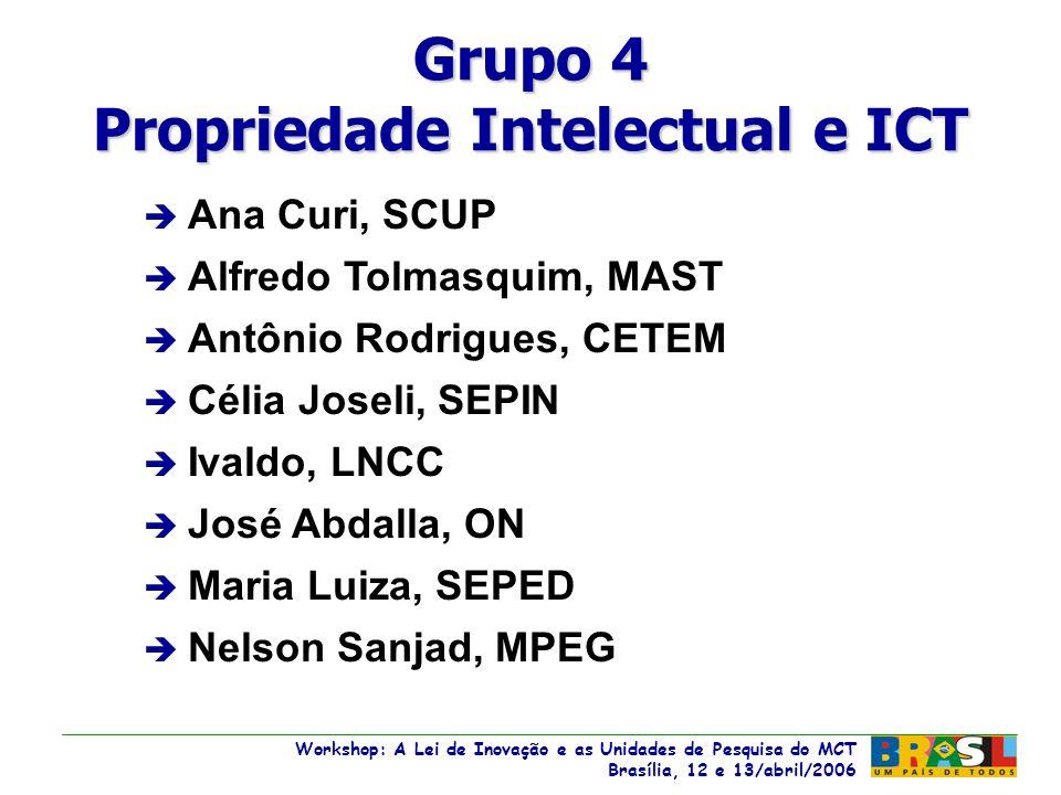 Workshop: A Lei de Inovação e as Unidades de Pesquisa do MCT Brasília, 12 e 13/abril/2006 Workshop: A Lei de Inovação e as Unidades de Pesquisa do MCT Brasília, 12 e 13/abril/2006 è Ana Curi, SCUP è Alfredo Tolmasquim, MAST è Antônio Rodrigues, CETEM è Célia Joseli, SEPIN è Ivaldo, LNCC è José Abdalla, ON è Maria Luiza, SEPED è Nelson Sanjad, MPEG Grupo 4 Propriedade Intelectual e ICT