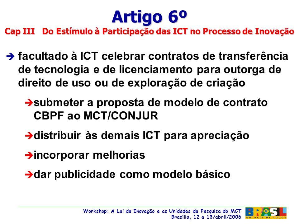 Workshop: A Lei de Inovação e as Unidades de Pesquisa do MCT Brasília, 12 e 13/abril/2006 Workshop: A Lei de Inovação e as Unidades de Pesquisa do MCT Brasília, 12 e 13/abril/2006 è facultado à ICT celebrar contratos de transferência de tecnologia e de licenciamento para outorga de direito de uso ou de exploração de criação è submeter a proposta de modelo de contrato CBPF ao MCT/CONJUR è distribuir às demais ICT para apreciação è incorporar melhorias è dar publicidade como modelo básico Artigo 6º Cap III Do Estímulo à Participação das ICT no Processo de Inovação
