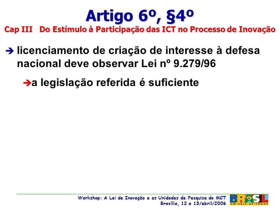 Workshop: A Lei de Inovação e as Unidades de Pesquisa do MCT Brasília, 12 e 13/abril/2006 Workshop: A Lei de Inovação e as Unidades de Pesquisa do MCT Brasília, 12 e 13/abril/2006 è licenciamento de criação de interesse à defesa nacional deve observar Lei nº 9.279/96 è a legislação referida é suficiente Artigo 6º, §4º Cap III Do Estímulo à Participação das ICT no Processo de Inovação
