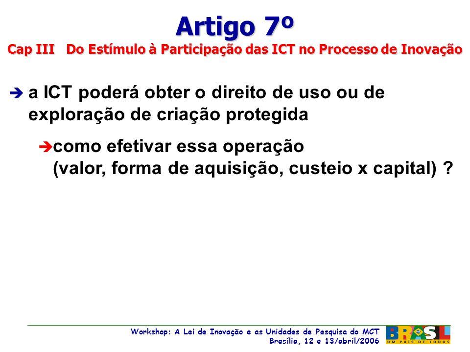 Workshop: A Lei de Inovação e as Unidades de Pesquisa do MCT Brasília, 12 e 13/abril/2006 Workshop: A Lei de Inovação e as Unidades de Pesquisa do MCT Brasília, 12 e 13/abril/2006 è a ICT poderá obter o direito de uso ou de exploração de criação protegida è como efetivar essa operação (valor, forma de aquisição, custeio x capital) .