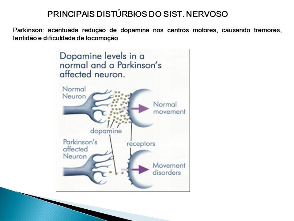 PRINCIPAIS DISTÚRBIOS DO SIST. NERVOSO Alzheimer: Formação defeituosa de uma proteína (tau) que participa dos microtúbulos com conseqüente destruição