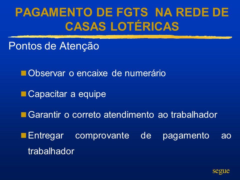 PAGAMENTO DE FGTS NA REDE DE CASAS LOTÉRICAS Pontos de Atenção Observar o encaixe de numerário Capacitar a equipe Garantir o correto atendimento ao tr