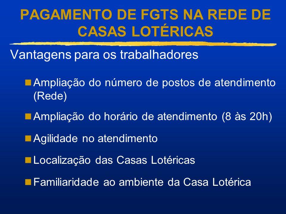 PAGAMENTO DE FGTS NA REDE DE CASAS LOTÉRICAS Vantagens para os trabalhadores Ampliação do número de postos de atendimento (Rede) Ampliação do horário