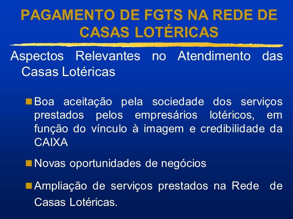 PAGAMENTO DE FGTS NA REDE DE CASAS LOTÉRICAS Aspectos Relevantes no Atendimento das Casas Lotéricas Boa aceitação pela sociedade dos serviços prestado