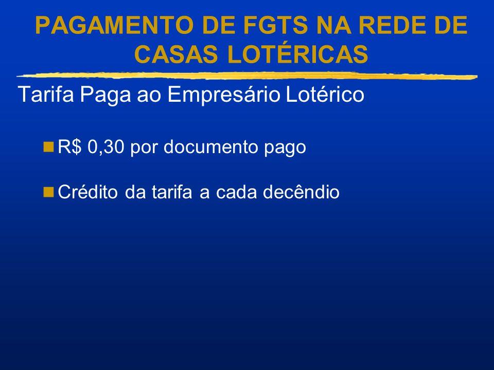 PAGAMENTO DE FGTS NA REDE DE CASAS LOTÉRICAS Tarifa Paga ao Empresário Lotérico R$ 0,30 por documento pago Crédito da tarifa a cada decêndio