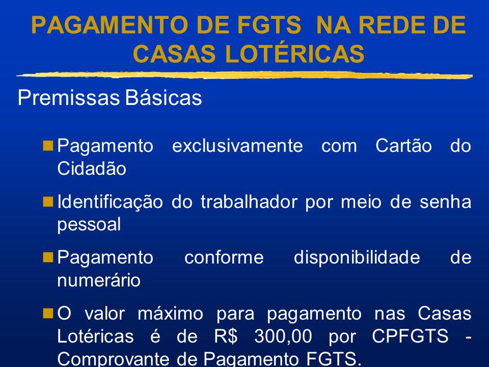 PAGAMENTO DE FGTS NA REDE DE CASAS LOTÉRICAS Premissas Básicas Pagamento exclusivamente com Cartão do Cidadão Identificação do trabalhador por meio de