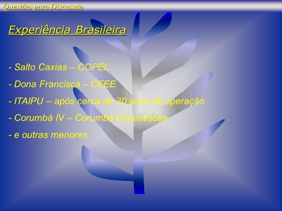Experiência Brasileira - Salto Caxias – COPEL - Dona Francisca – CEEE - ITAIPU – após cerca de 30 anos de operação - Corumbá IV – Corumbá Concessões -