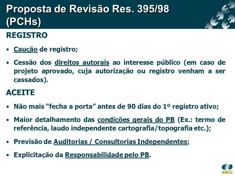 REGISTRO Caução de registro; Cessão dos direitos autorais ao interesse público (em caso de projeto aprovado, cuja autorização ou registro venham a ser cassados).