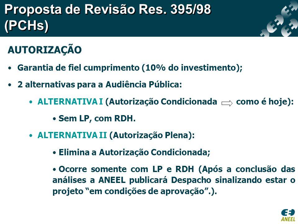 AUTORIZAÇÃO Garantia de fiel cumprimento (10% do investimento); 2 alternativas para a Audiência Pública: ALTERNATIVA I (Autorização Condicionada como é hoje): Sem LP, com RDH.