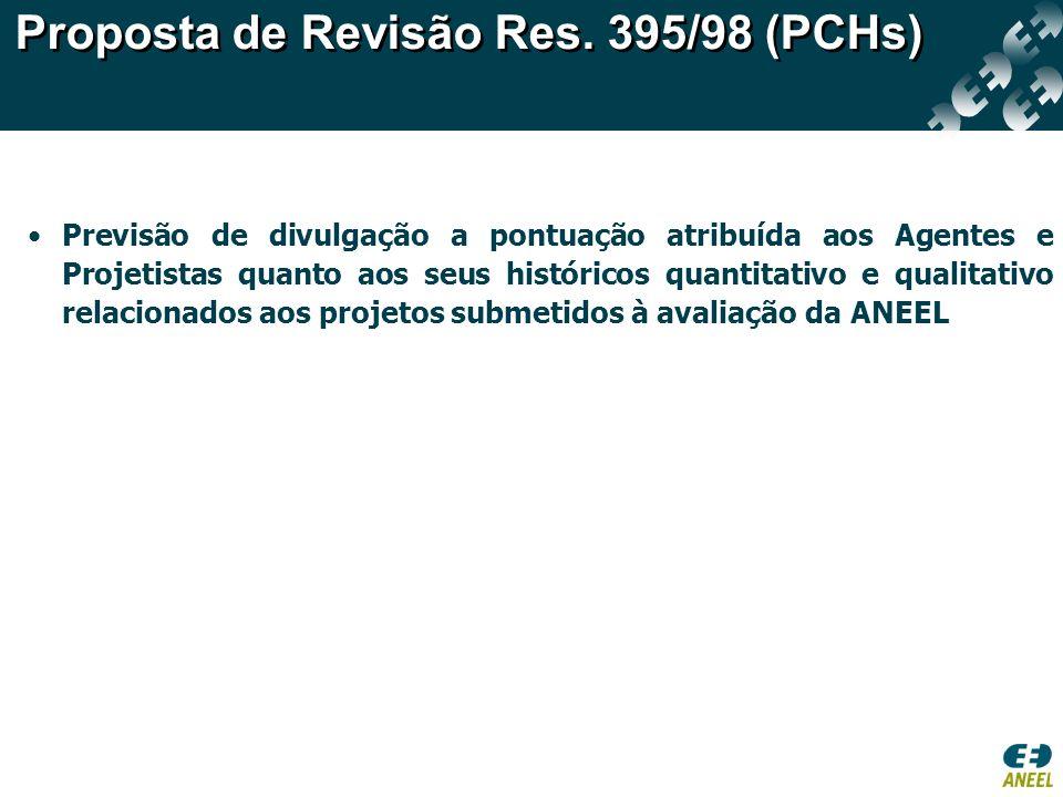 Previsão de divulgação a pontuação atribuída aos Agentes e Projetistas quanto aos seus históricos quantitativo e qualitativo relacionados aos projetos submetidos à avaliação da ANEEL Proposta de Revisão Res.