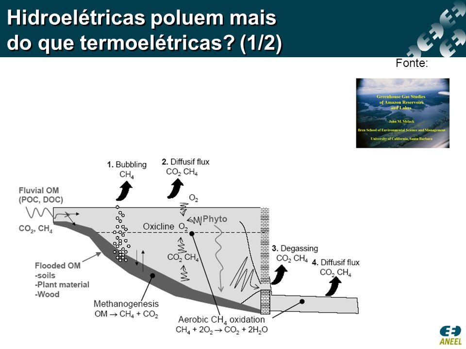 Hidroelétricas poluem mais do que termoelétricas? (1/2) Fonte: