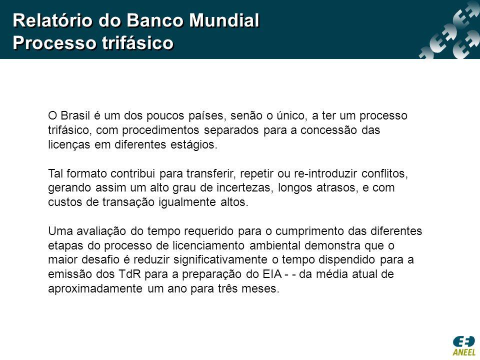 Relatório do Banco Mundial Processo trifásico O Brasil é um dos poucos países, senão o único, a ter um processo trifásico, com procedimentos separados para a concessão das licenças em diferentes estágios.