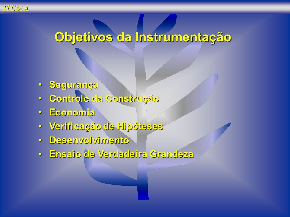 Objetivos da Instrumentação SegurançaSegurança Controle da ConstruçãoControle da Construção EconomiaEconomia Verificação de HipótesesVerificação de Hi