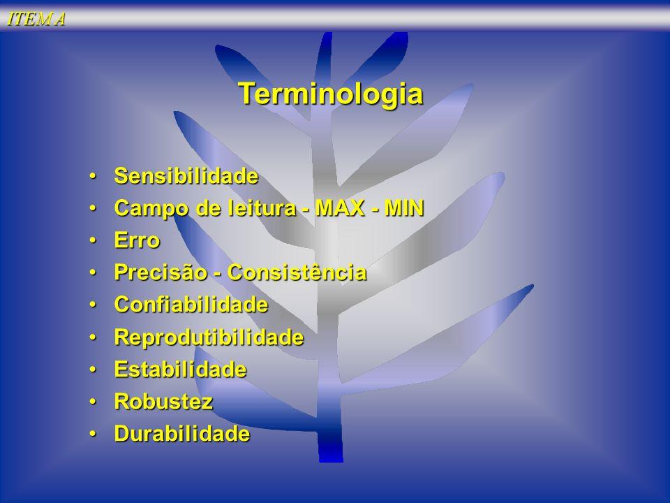 ITEM A Terminologia SensibilidadeSensibilidade Campo de leitura - MAX - MINCampo de leitura - MAX - MIN ErroErro Precisão - ConsistênciaPrecisão - Con