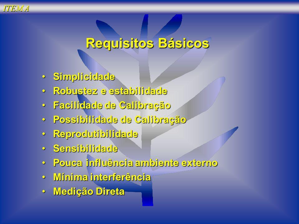 ITEM A RequisitosBásicos Requisitos Básicos SimplicidadeSimplicidade Robustez e estabilidadeRobustez e estabilidade Facilidade de CalibraçãoFacilidade