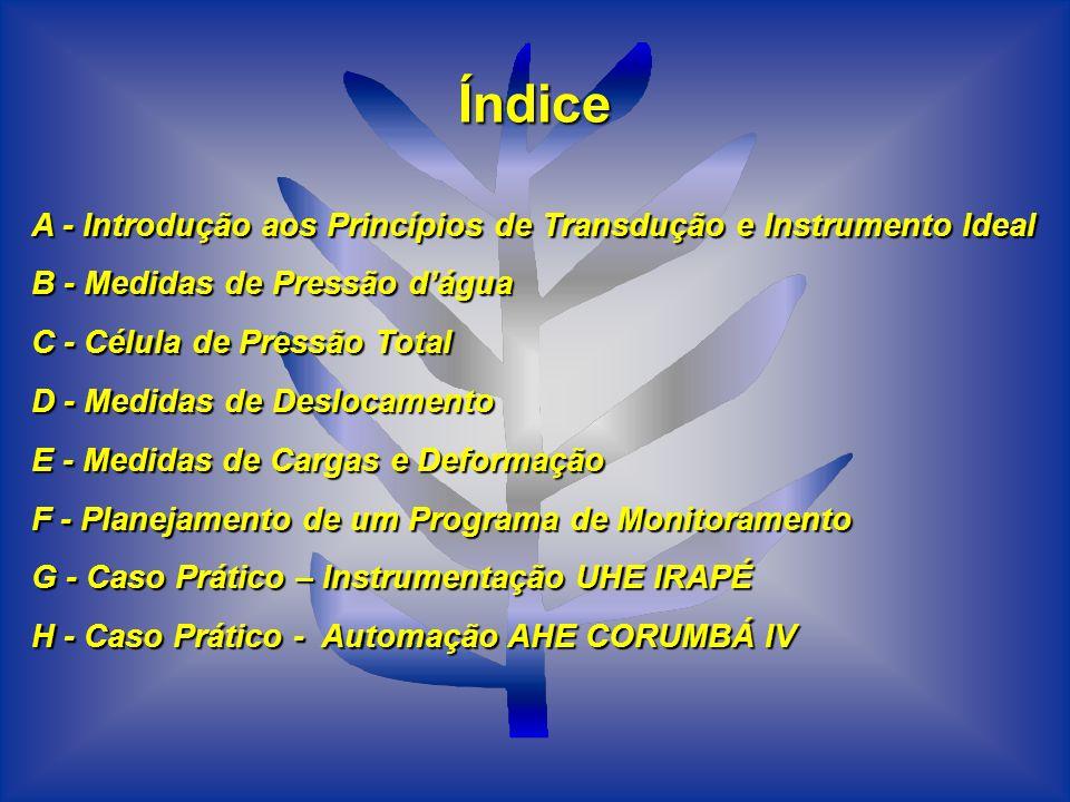 Índice A - Introdução aos Princípios de Transdução e Instrumento Ideal B - Medidas de Pressão dágua C - Célula de Pressão Total D - Medidas de Desloca