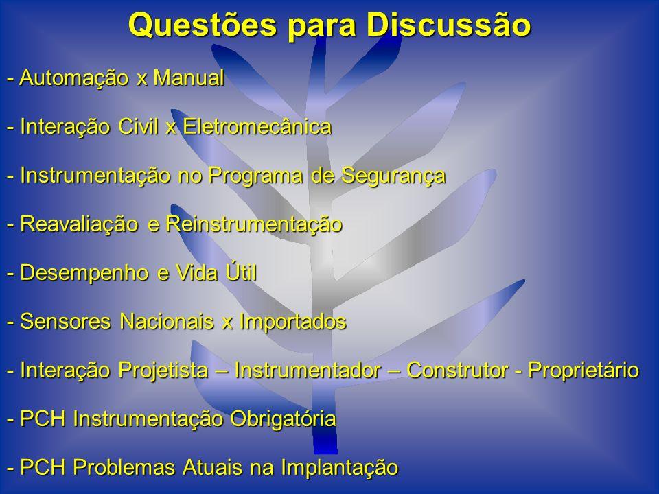 Questões para Discussão - Automação x Manual - Interação Civil x Eletromecânica - Instrumentação no Programa de Segurança - Reavaliação e Reinstrument