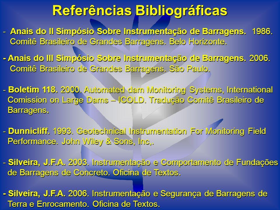 Referências Bibliográficas - Anais do II Simpósio Sobre Instrumentação de Barragens. 1986. Comitê Brasileiro de Grandes Barragens. Belo Horizonte. - A