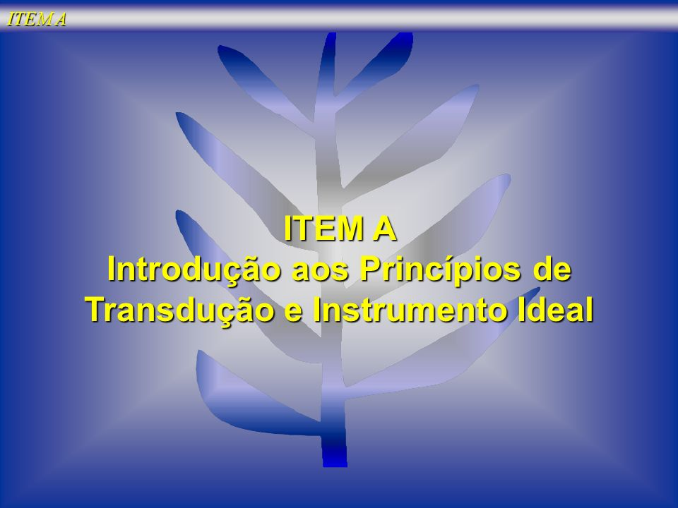 ITEM A Introdução aos Princípios de Transdução e Instrumento Ideal
