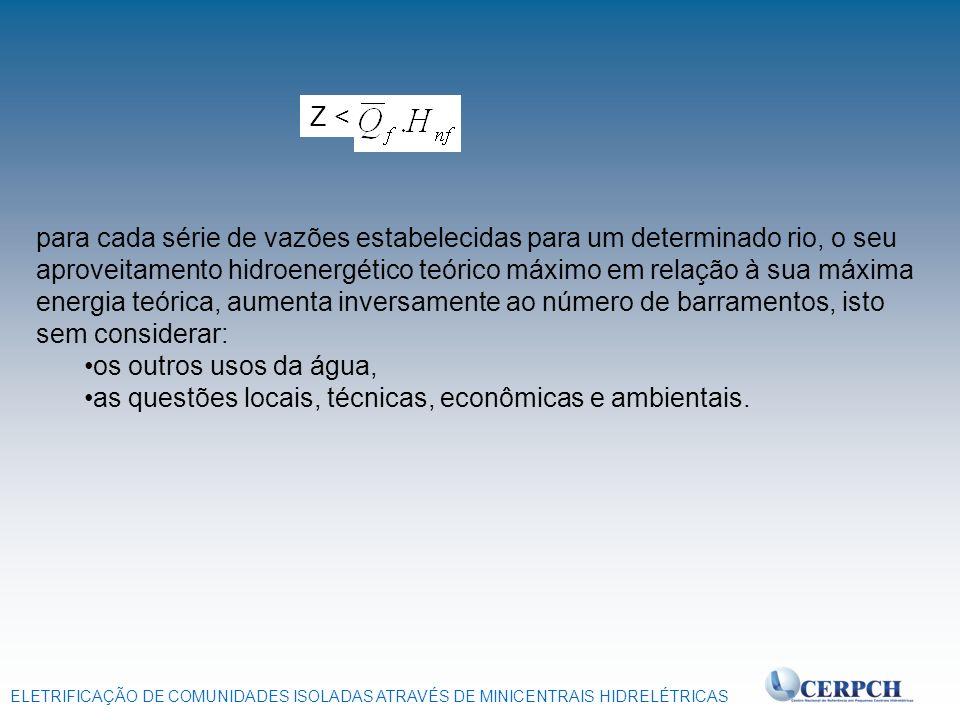 ELETRIFICAÇÃO DE COMUNIDADES ISOLADAS ATRAVÉS DE MINICENTRAIS HIDRELÉTRICAS Z < para cada série de vazões estabelecidas para um determinado rio, o seu
