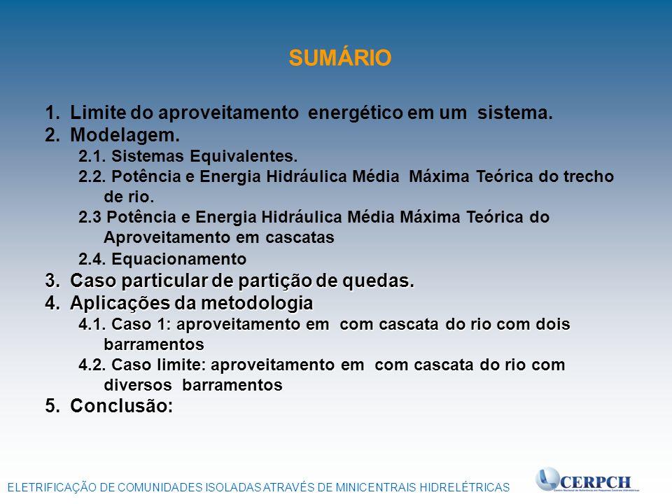 ELETRIFICAÇÃO DE COMUNIDADES ISOLADAS ATRAVÉS DE MINICENTRAIS HIDRELÉTRICAS 1. 1.Limite do aproveitamento energético em um sistema. 2. 2.Modelagem. 2.