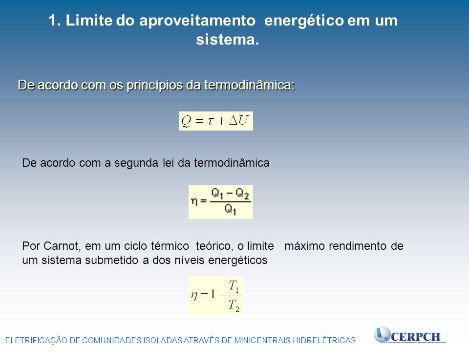 ELETRIFICAÇÃO DE COMUNIDADES ISOLADAS ATRAVÉS DE MINICENTRAIS HIDRELÉTRICAS 1. 1.Limite do aproveitamento energético em um sistema. De acordo com os p