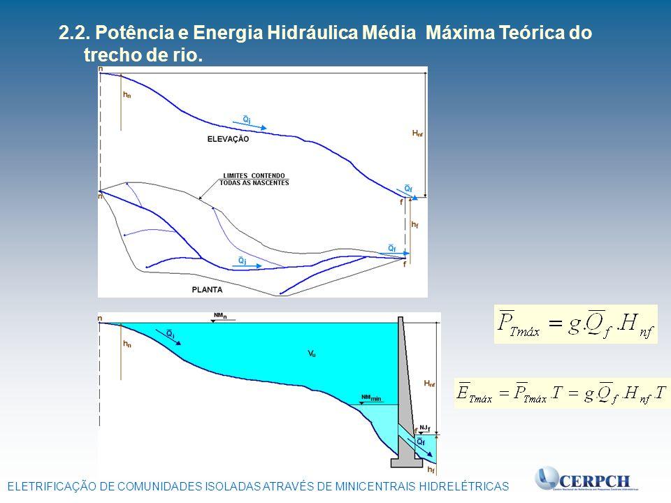 ELETRIFICAÇÃO DE COMUNIDADES ISOLADAS ATRAVÉS DE MINICENTRAIS HIDRELÉTRICAS 2.2. Potência e Energia Hidráulica Média Máxima Teórica do trecho de rio.