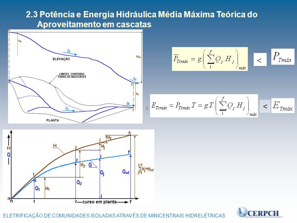 ELETRIFICAÇÃO DE COMUNIDADES ISOLADAS ATRAVÉS DE MINICENTRAIS HIDRELÉTRICAS 2.3 Potência e Energia Hidráulica Média Máxima Teórica do Aproveitamento e