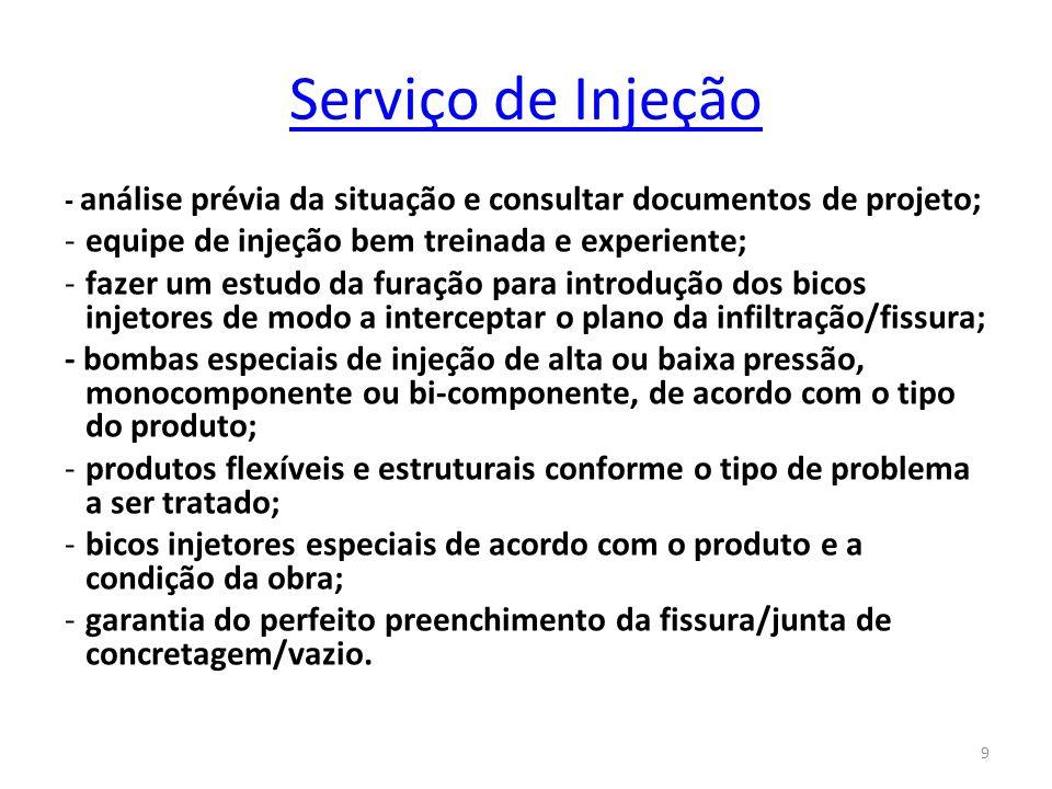 9 Serviço de Injeção - análise prévia da situação e consultar documentos de projeto; -equipe de injeção bem treinada e experiente; -fazer um estudo da