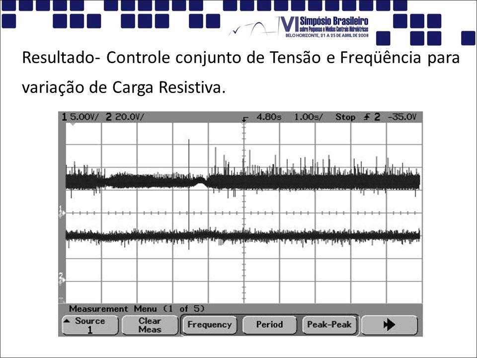 Resultado- Controle conjunto de Tensão e Freqüência para variação de Carga Resistiva.