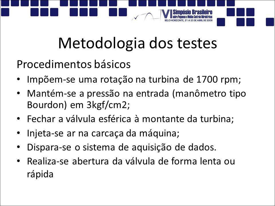 Metodologia dos testes Procedimentos básicos Impõem-se uma rotação na turbina de 1700 rpm; Mantém-se a pressão na entrada (manômetro tipo Bourdon) em