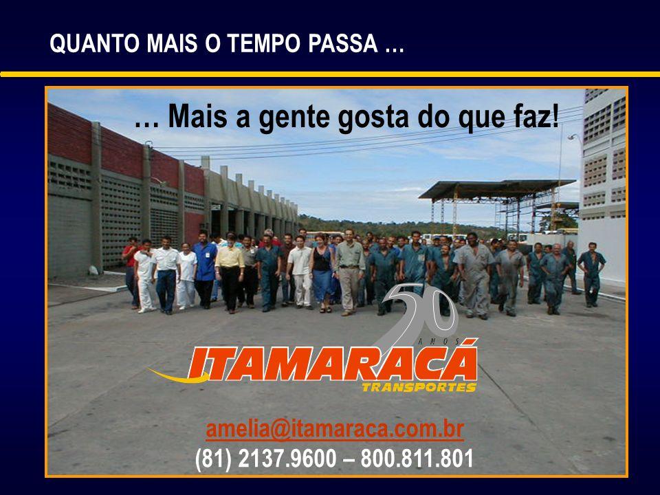 QUANTO MAIS O TEMPO PASSA … … Mais a gente gosta do que faz! amelia@itamaraca.com.br@itamaraca.com.br (81) 2137.9600 – 800.811.801