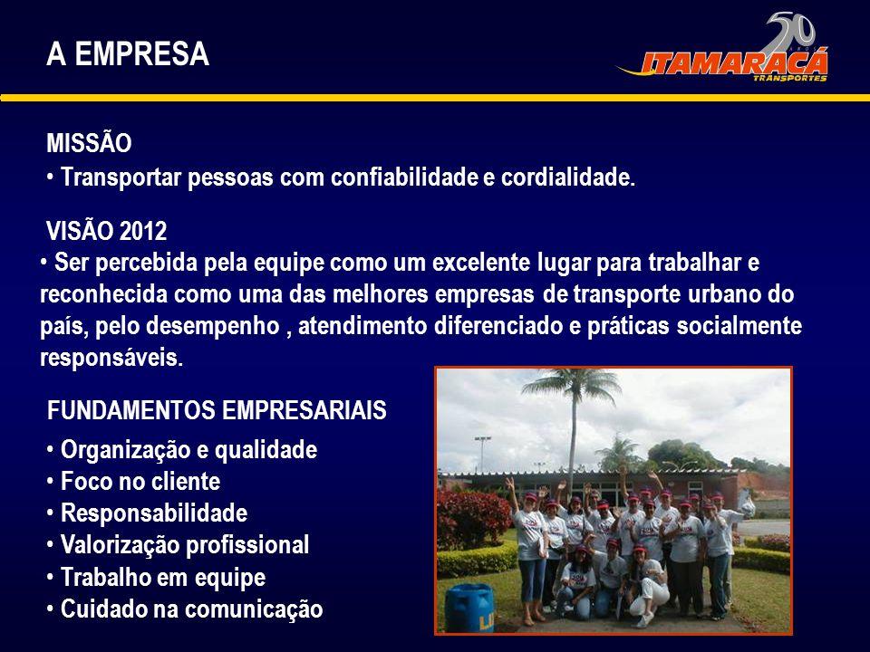 A EMPRESA MISSÃO VISÃO 2012 Ser percebida pela equipe como um excelente lugar para trabalhar e reconhecida como uma das melhores empresas de transport