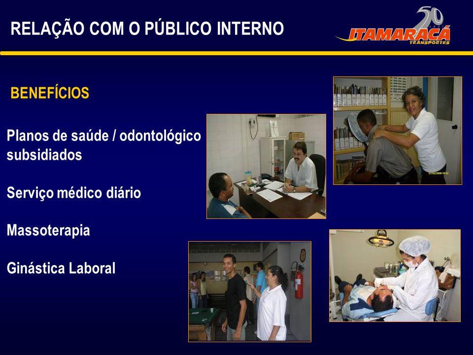 Planos de saúde / odontológico subsidiados Serviço médico diário Massoterapia Ginástica Laboral BENEFÍCIOS RELAÇÃO COM O PÚBLICO INTERNO