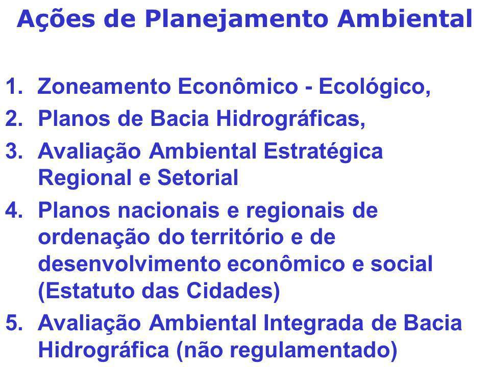 1.Zoneamento Econômico - Ecológico, 2.Planos de Bacia Hidrográficas, 3.Avaliação Ambiental Estratégica Regional e Setorial 4.Planos nacionais e region
