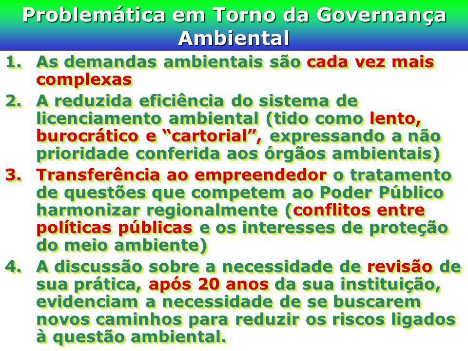 Problemática em Torno da Governança Ambiental 1.As demandas ambientais são cada vez mais complexas 2.A reduzida eficiência do sistema de licenciamento