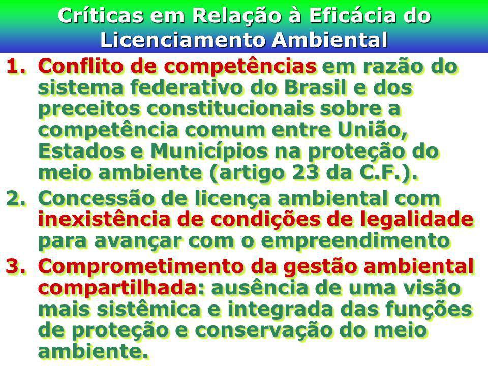 Críticas em Relação à Eficácia do Licenciamento Ambiental 1.Conflito de competências em razão do sistema federativo do Brasil e dos preceitos constitu