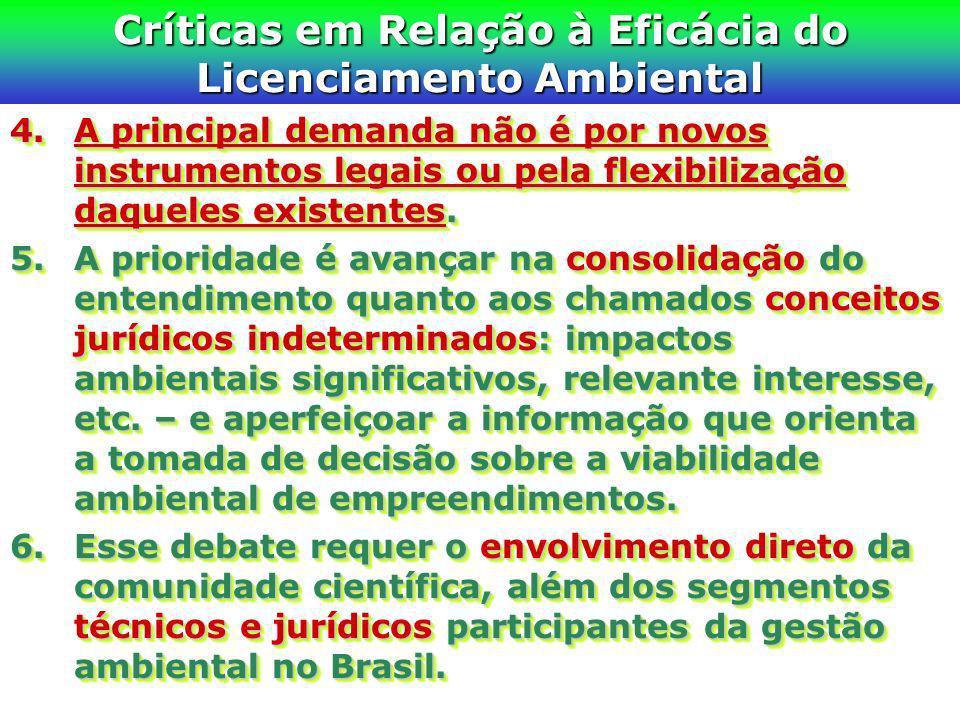 Críticas em Relação à Eficácia do Licenciamento Ambiental 4.A principal demanda não é por novos instrumentos legais ou pela flexibilização daqueles ex