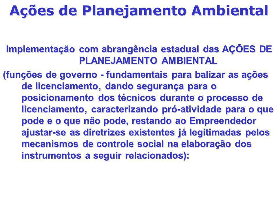 Implementação com abrangência estadual das AÇÕES DE PLANEJAMENTO AMBIENTAL (funções de governo - fundamentais para balizar as ações de licenciamento,