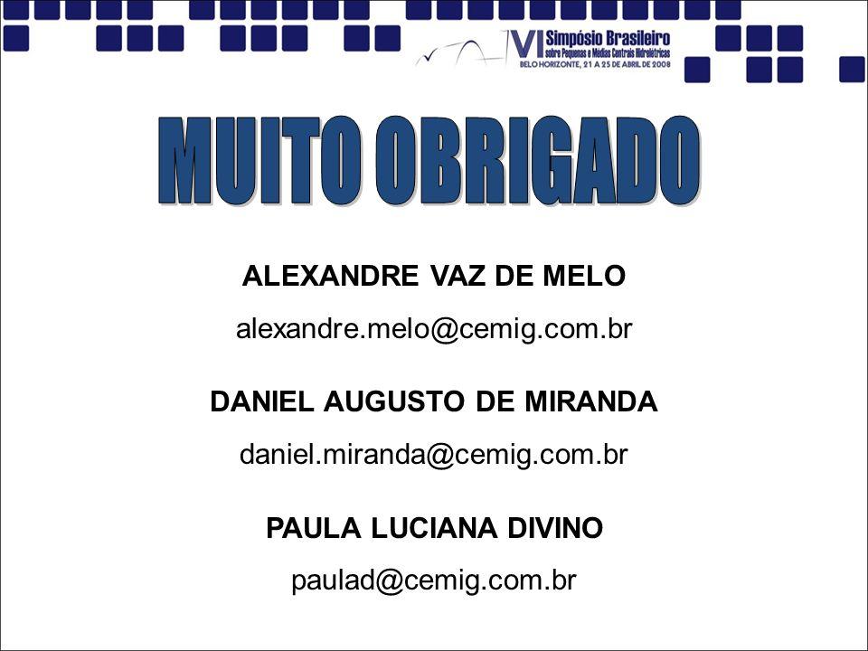 ALEXANDRE VAZ DE MELO alexandre.melo@cemig.com.br DANIEL AUGUSTO DE MIRANDA daniel.miranda@cemig.com.br PAULA LUCIANA DIVINO paulad@cemig.com.br