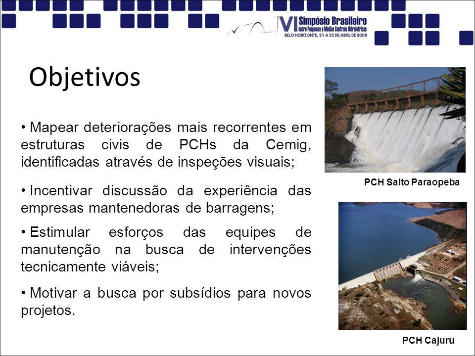 Objetivos Mapear deteriorações mais recorrentes em estruturas civis de PCHs da Cemig, identificadas através de inspeções visuais; PCH Salto Paraopeba