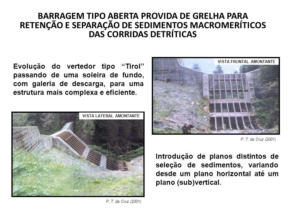 BARRAGEM TIPO ABERTA PROVIDA DE GRELHA PARA RETENÇÃO E SEPARAÇÃO DE SEDIMENTOS MACROMERÍTICOS DAS CORRIDAS DETRÍTICAS P. T. da Cruz (2001) VISTA LATER