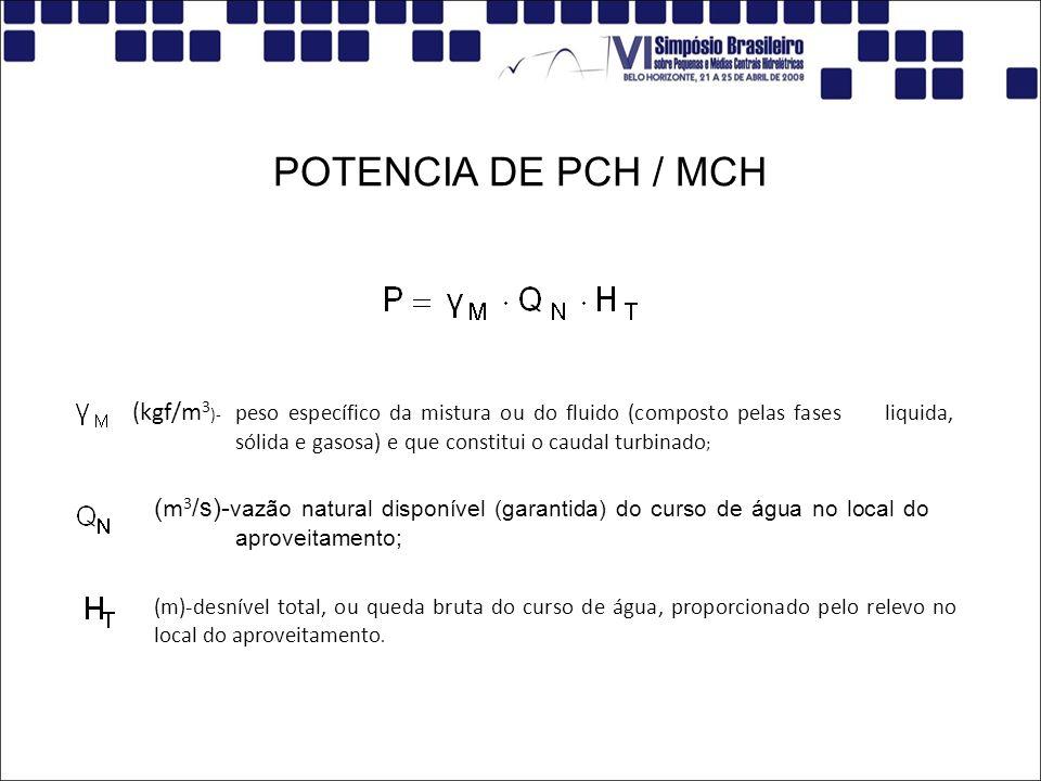 POTENCIA DE PCH / MCH (kgf/m 3 )- peso específico da mistura ou do fluido (composto pelas fases liquida, sólida e gasosa) e que constitui o caudal tur
