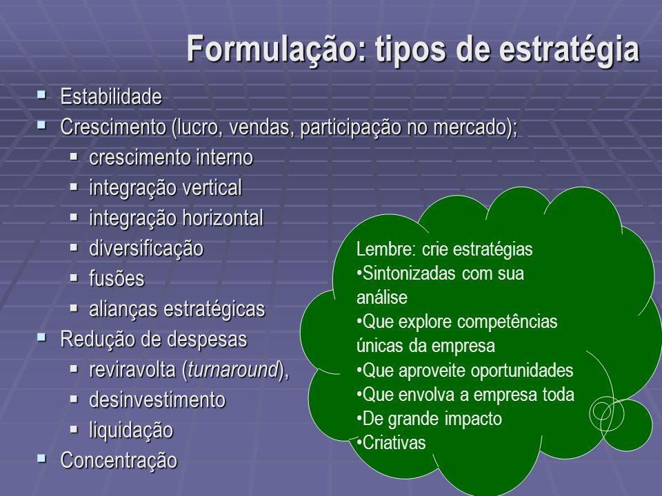 Estabilidade Estabilidade Crescimento (lucro, vendas, participação no mercado); Crescimento (lucro, vendas, participação no mercado); crescimento inte