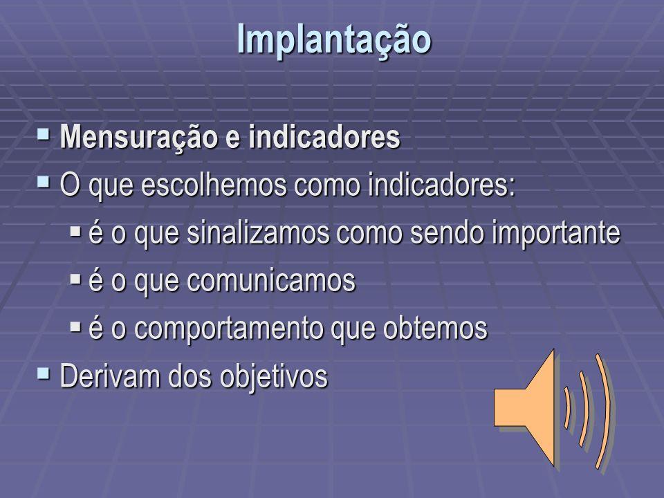 Mensuração e indicadores Mensuração e indicadores O que escolhemos como indicadores: O que escolhemos como indicadores: é o que sinalizamos como sendo