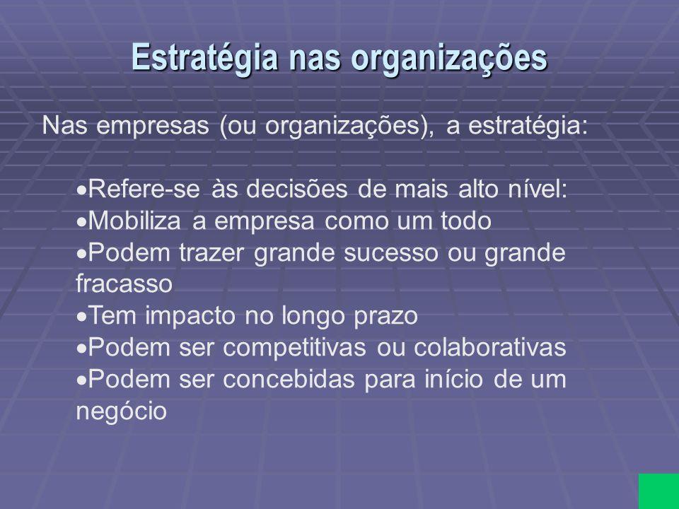 Estratégia nas organizações Nas empresas (ou organizações), a estratégia: Refere-se às decisões de mais alto nível: Mobiliza a empresa como um todo Po