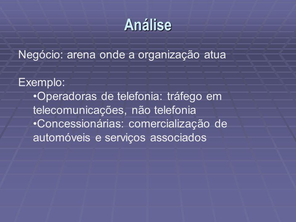 Análise Negócio: arena onde a organização atua Exemplo: Operadoras de telefonia: tráfego em telecomunicações, não telefonia Concessionárias: comercial