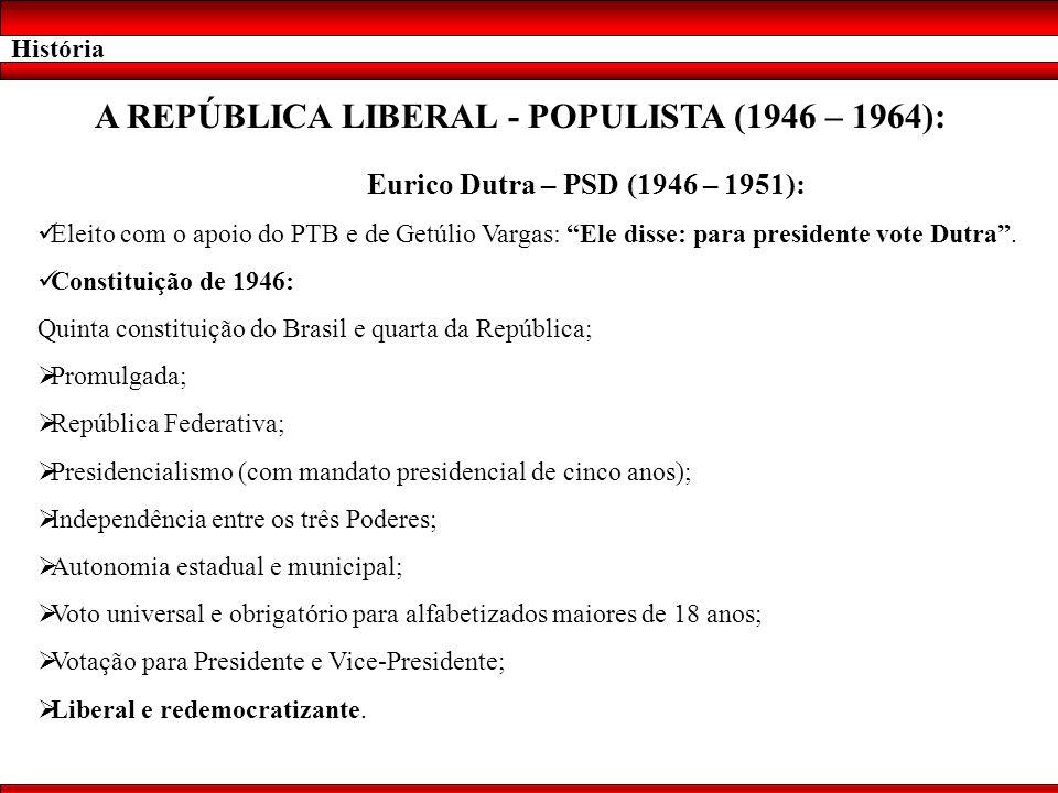 História A REPÚBLICA LIBERAL - POPULISTA (1946 – 1964): Eurico Dutra – PSD (1946 – 1951): Eleito com o apoio do PTB e de Getúlio Vargas: Ele disse: pa