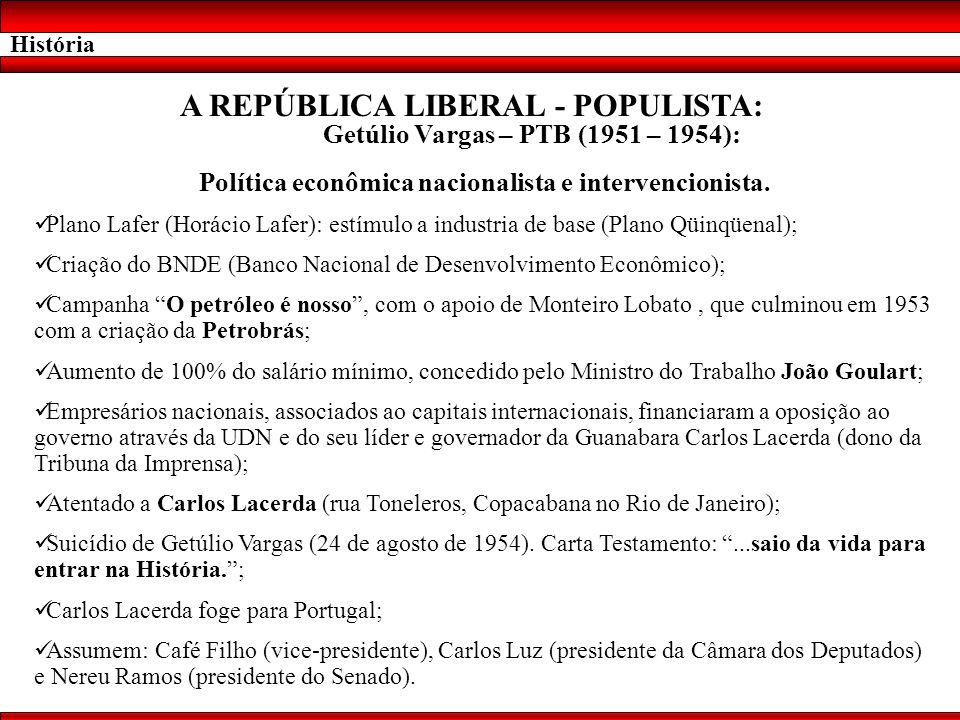 História A REPÚBLICA LIBERAL - POPULISTA: Getúlio Vargas – PTB (1951 – 1954): Política econômica nacionalista e intervencionista. Plano Lafer (Horácio
