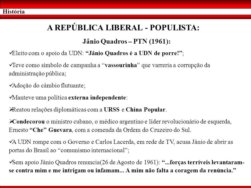 História A REPÚBLICA LIBERAL - POPULISTA: Jânio Quadros – PTN (1961): Eleito com o apoio da UDN: Jânio Quadros é a UDN de porre!; Teve como símbolo de
